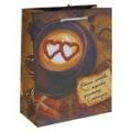 Пакет подарочный кофе (блестки)