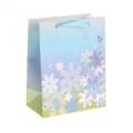 """Пакет ламинированный, тиснение """"Цветы"""", цвет голубой"""